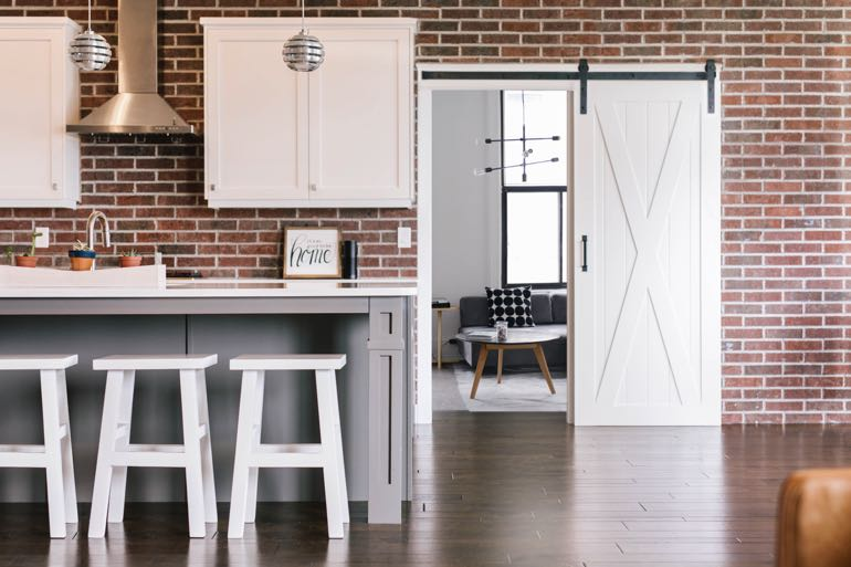 New York City modern kitchen barn door