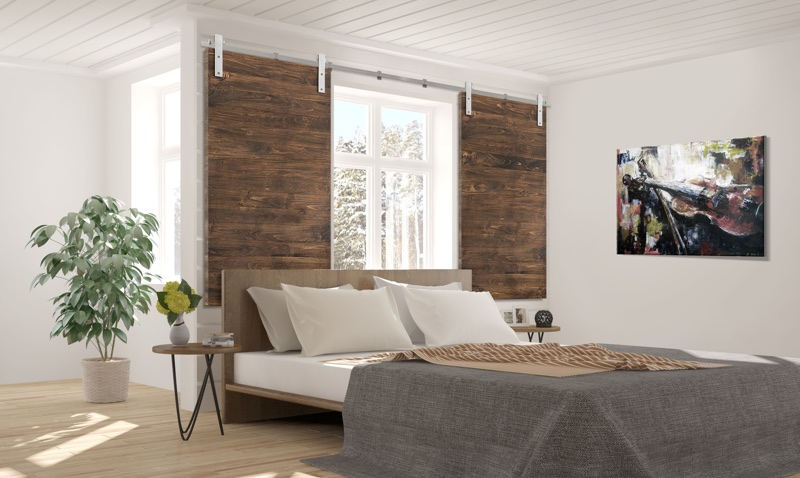 New York City bedroom barn door shutters