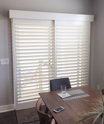 New York City white sliding door shutters