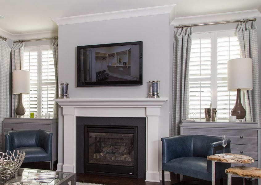 living room New York City faux wood shutters
