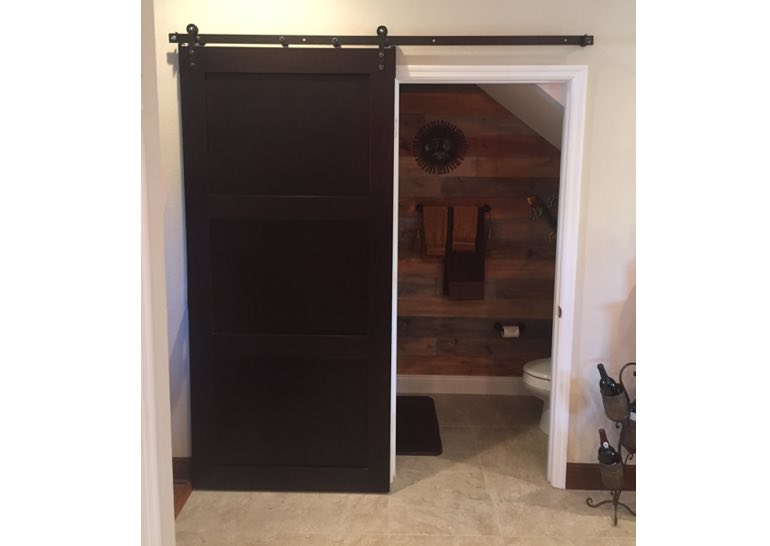 Wooden bathroom sliding barn door
