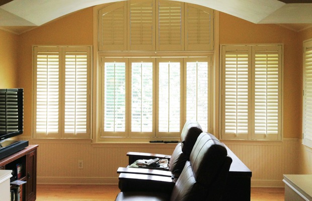 New York City plantation shutters in tv room