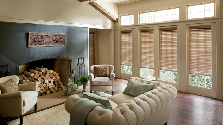 New York City fireplace with blinds