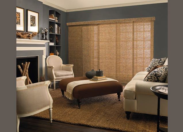 New York City living room wide vertical blinds