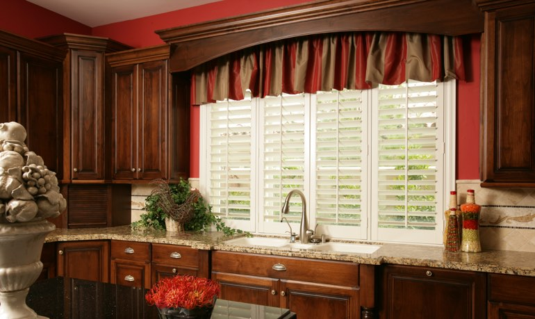 New York City kitchen shutter and cornice valance