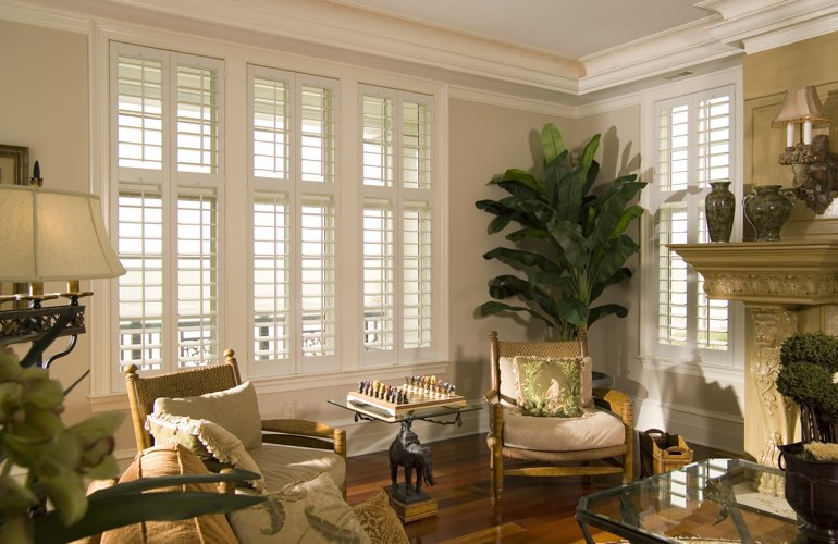 Living Room In New York City With Interior Plantation Shutters.
