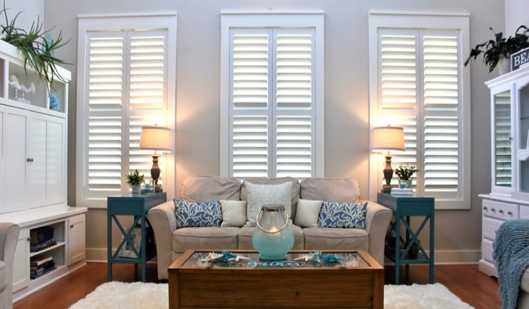 Hartford designer home with faux wood shutters