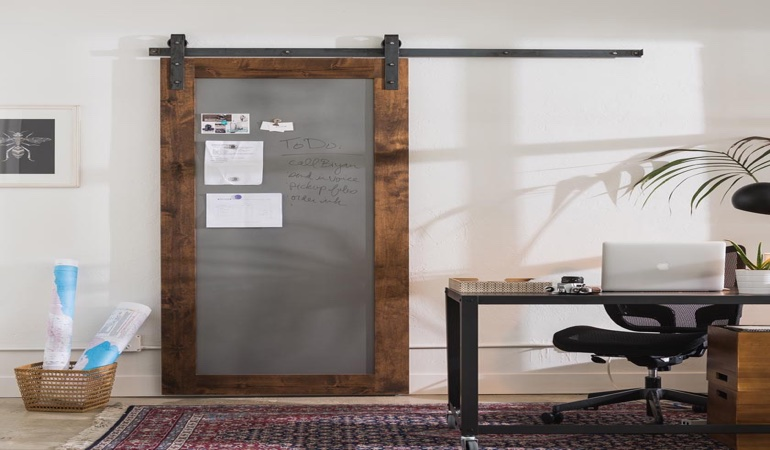 New York City home office barn door