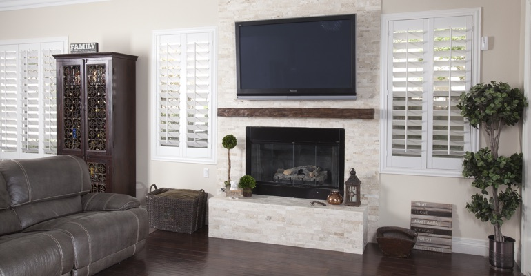 interior shutters in New York City living room