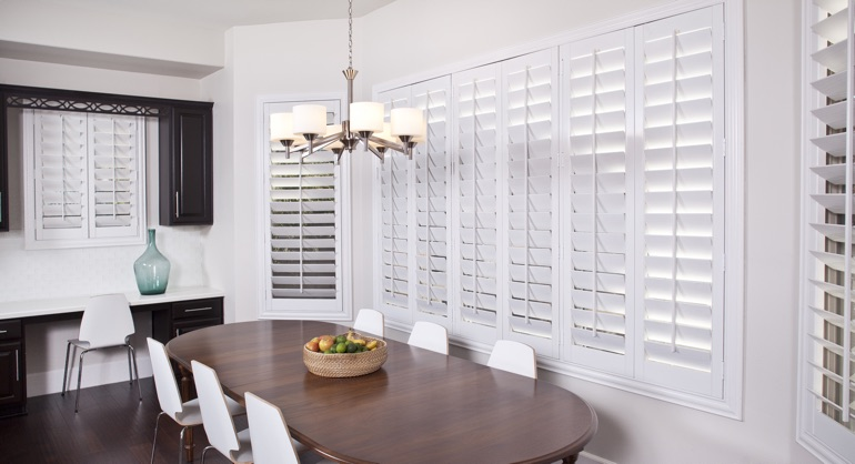 white shutters in New York City kitchen