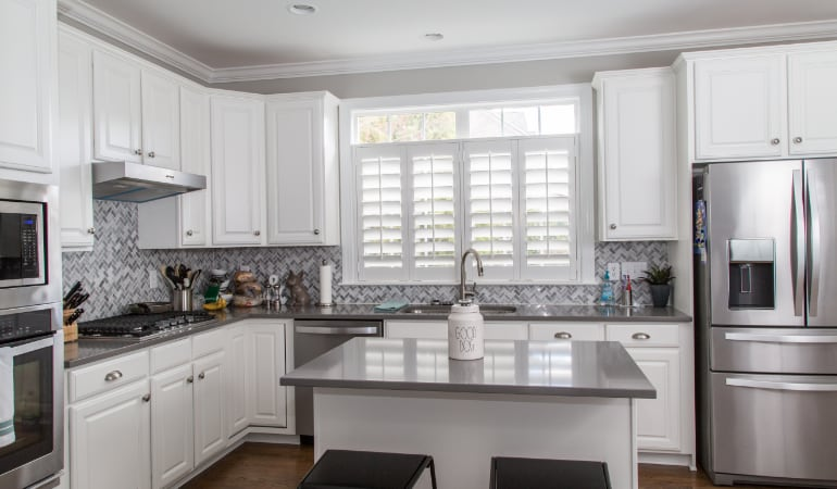 Polywood shutters in a New York City gourmet kitchen.