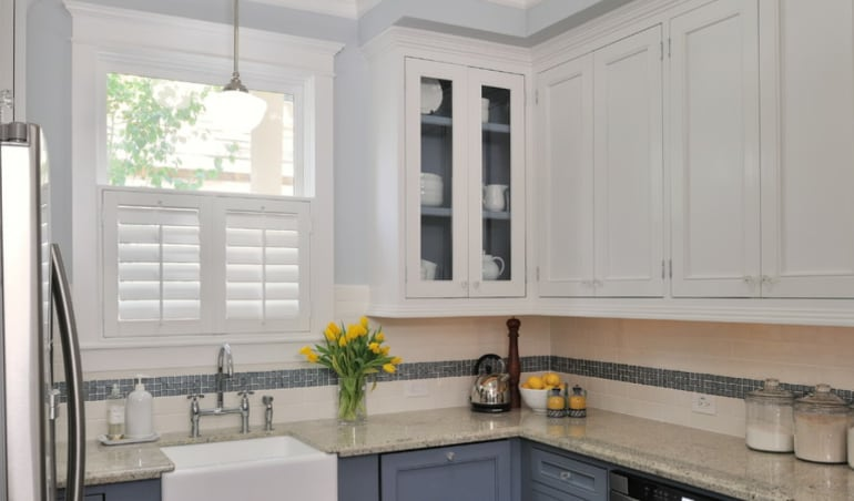 Polywood shutters in a New York City kitchen.