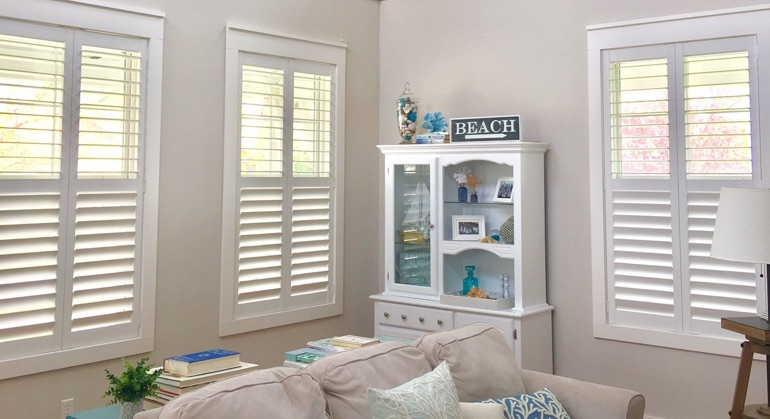 plantation shutters in New York City living room