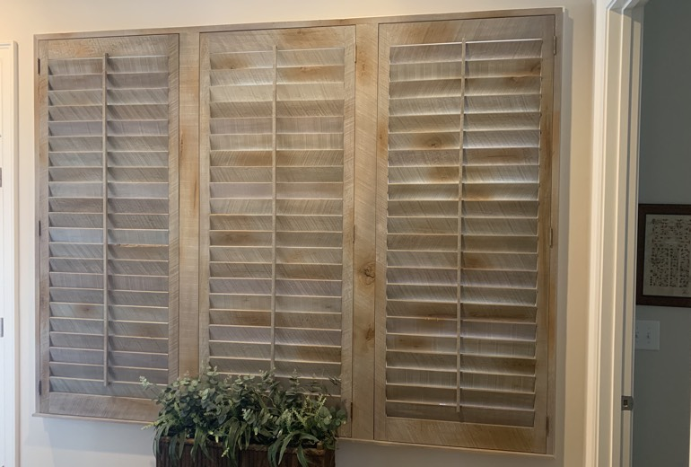 Closed reclaimed wood shutters in New York City