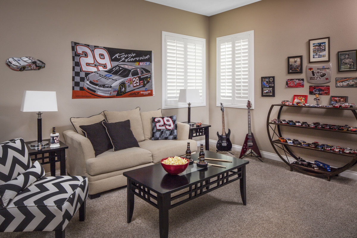 New York City man cave with shutters