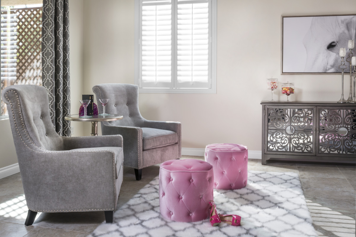 New York City pink living room with shutters