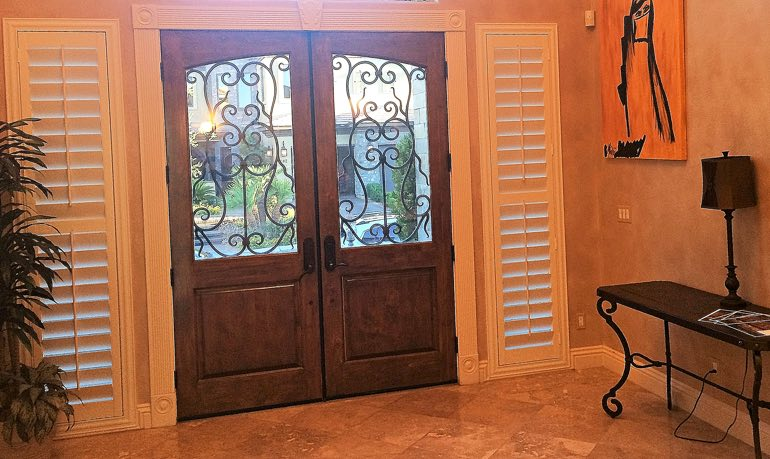 New York City foyer door with shutters