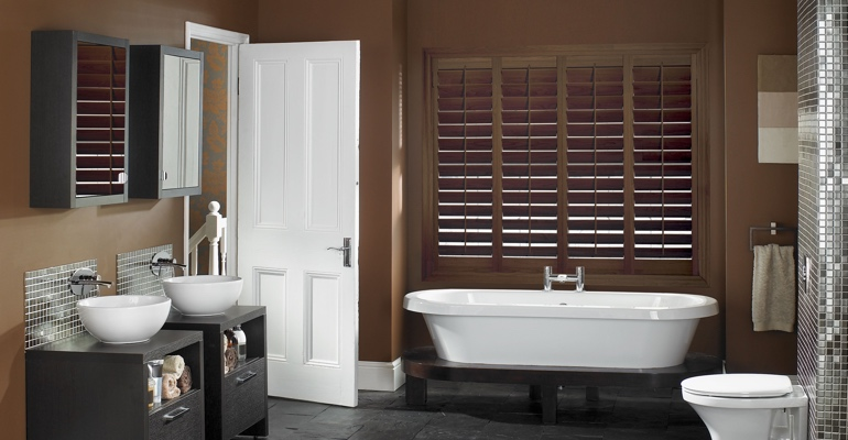New York City bathroom shutters wood stain