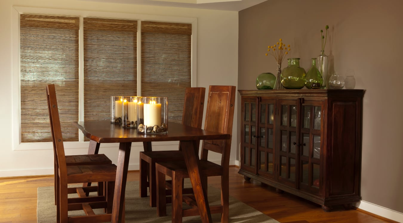 Woven shutters in a New York City dining room.