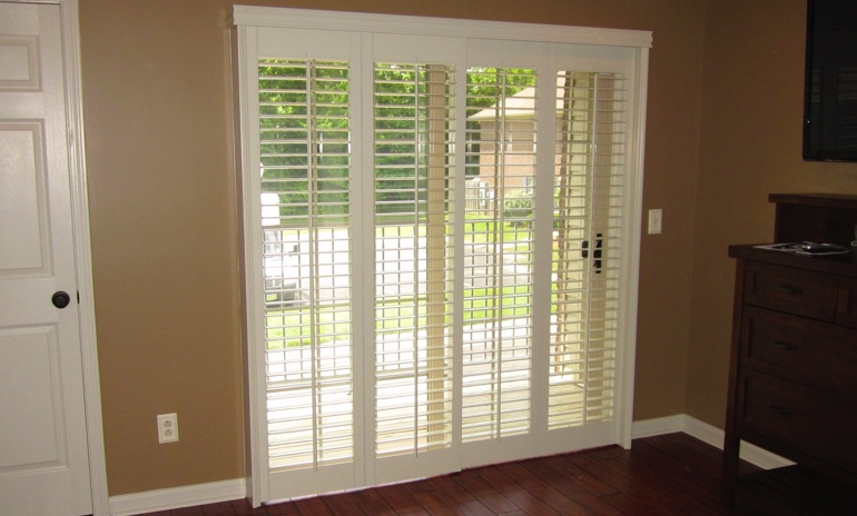 New York City sliding door bifold shutters in patio