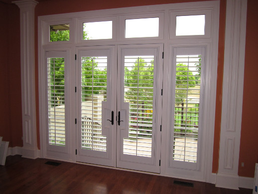 New York City patio door with sidelight shutters