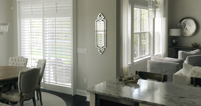New York City kitchen sliding glass door shutters