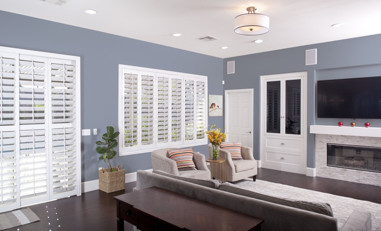 Plantation Shutters In A New York City Living Room.