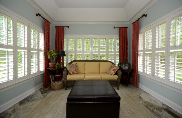 Plantation Shutters In A New York City Sunroom