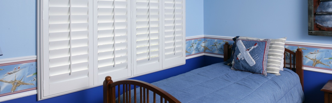 Boys bedroom with shutters